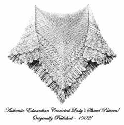 1902 Edwardian Ice Shawl Crochet Pattern DIYHistorical Reenactment Wrapper Wrap