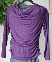AGB Women's Large Long Sleeved Drape Neck Purple Sparkle Top Blouse EUC ... - $13.55