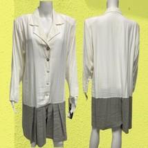 Vintage XTRMZ White Gray Jumper Dress Women's Sz 14 (D-3E) - $27.72