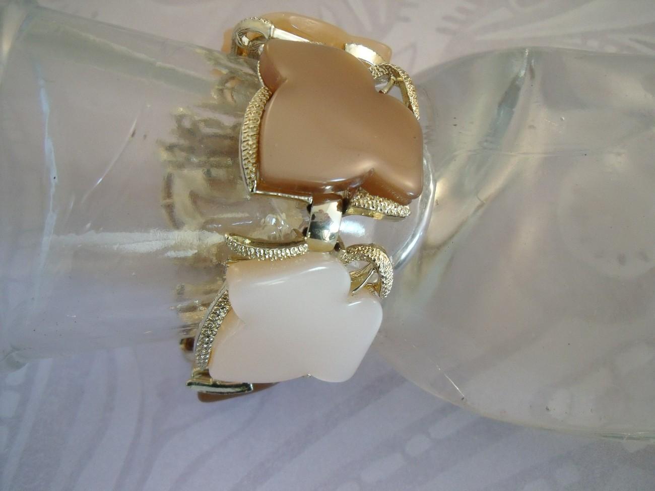 Cream and coffee Coro moon glow thermoplastic leaf bracelet