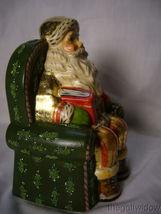 Vaillancourt Folk Art Gold Santa in Seat with Shopping Catalog Signed  image 4