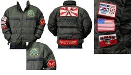 Mens green long sleeve aviator jacket by London Basic Army military Jack... - $52.25