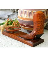 Vintage Wood Cowboy Boot Carving Snakes Horsesh... - $39.95