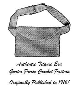 1916 Titanic WWI Garter Purse Crochet Pattern DIY Historical Reenactment Gifts