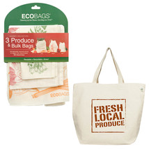 ECOBAGS® Fresh Local Produce Tote Bag +Set of 3 Reusable Produce & Bulk ... - $32.13