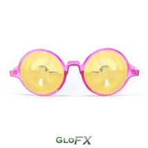 GloFX Transparent Pink Kaleidoscope Glasses Gold Wormhole Rave Elegant DJ Dancer - $36.99