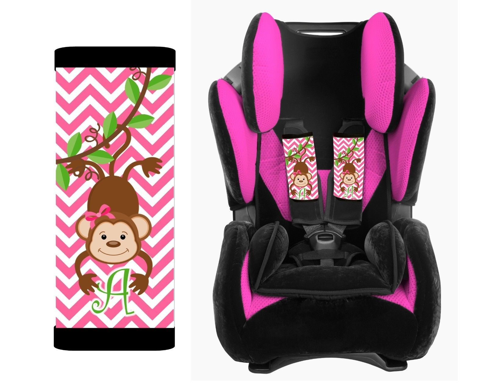 PERSONALIZED BABY TODDLER CAR SEAT STRAP COVERS CUTE MONKEY PINK CHEVRON