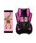 PERSONALIZED BABY TODDLER CAR SEAT STRAP COVERS CUTE MONKEY PINK CHEVRON - $14.68