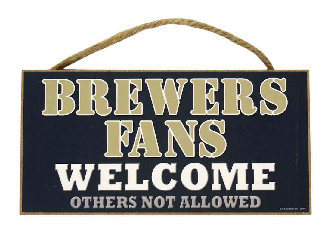 "MILWAUKEE BREWERS WELCOME FANS WOOD SIGN WALL PLAQUE 5"" X 10"" MLB BASEBALL #1"