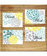 Teal~Aqua~Gray~Yellow Bathroom Wall Art Prints Decor Floral Dahlia BRUSH... - $13.51