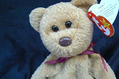 Ty Original Curly The Bear Beanie Baby Hang Tag 1996 Tush Tag1993 Errors MWMT
