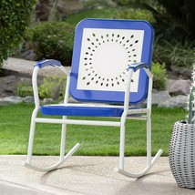 Retro Vintage Style Blue White Metal Patio Rocking Chair Outdoor Furniture  - $125.23
