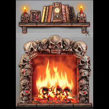 Gothic 4x5 FIREPLACE SKULLS WALL DECORATION Halloween Haunted House Scen... - $7.89