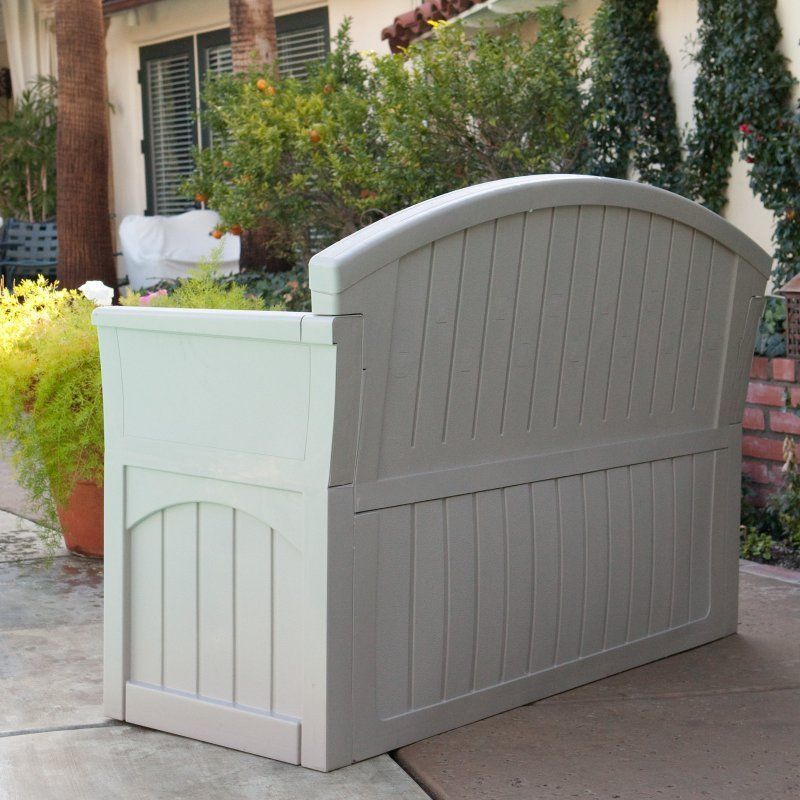 Outdoor storage bench seat furniture patio garden yard for Outdoor plastic bench seats