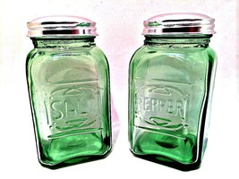 Classic Green Salt & Pepper Shakers Retro Depre... - $24.74