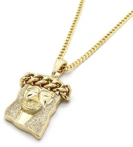 """Mens Gold Plated Gold Stardust Rope Jesus Pendant 30"""" Cuban Necklace Chain - $13.85"""