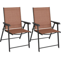2 Pcs Foldable Chairs Pool Garden Outdoor Patio | Folding Sling Chairs F... - £74.69 GBP