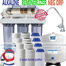 Reverse Osmosis Alk. Ionizer Far Infrared Neg ORP 100GPD 3 Year Filter Supply - $222.00