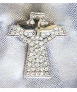 Elegant Chrystal Rhinestone Silvery Dove & Cross Brooch  - $12.82
