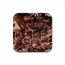 Dutch Proverbs Pieter Bruegel Non-Slip Drink/Beer Coaster Set - $6.74