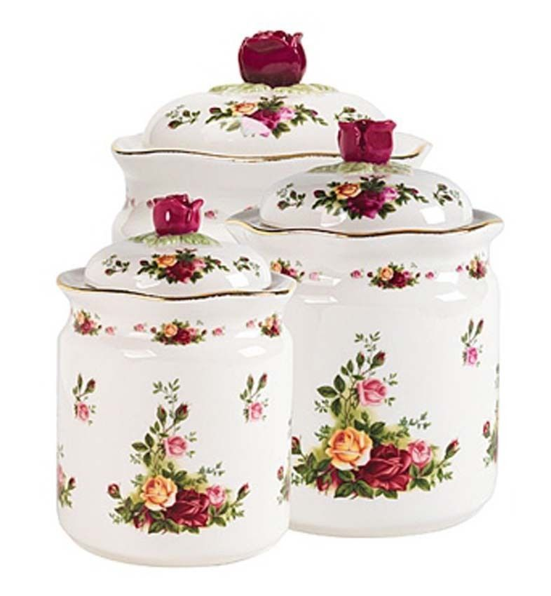 Primary image for Royal Albert Old Country Roses 3 PIECE CANISTER SET With Lids $200 New Large Box