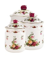 Royal Albert Old Country Roses 3 PIECE CANISTER SET With Lids $200 New Large Box - $104.90