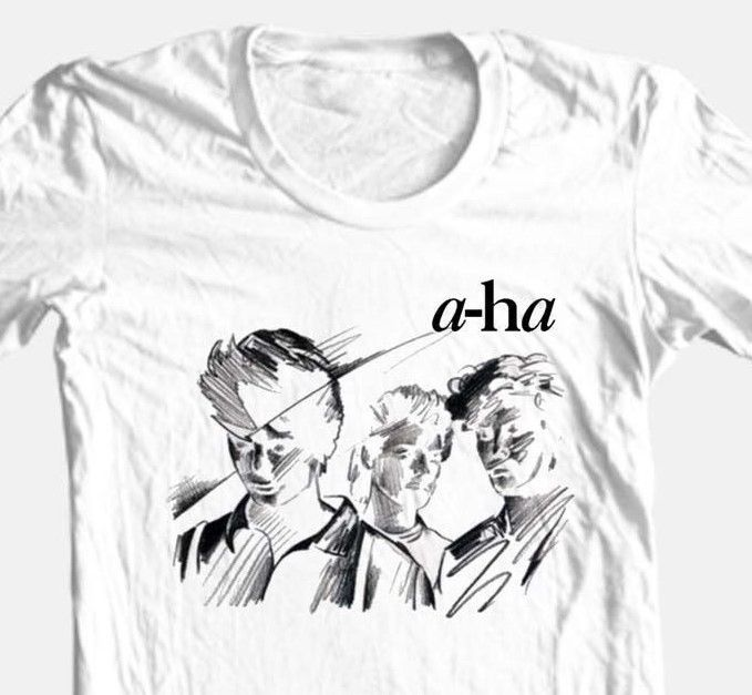 A-Ha T-shirt retro 80's alternative new wave music graphic 100% cotton white tee