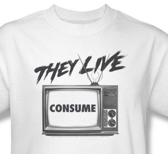 They Live T-shirt retro sci-fi 80's movie cotton tee Rowdy Roddy Piper UNI609
