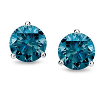 0.25ct 14k White Gold Martini Set Blue Diamond Stud Earrings - $192.94