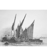 BARGES Sailboats on Sand - Original Etching print by E.W. Cooke - $24.70