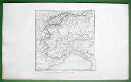1859 ANTIQUE MAP - Italy Nort West Piedmont  Lo... - $27.72