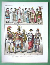 COSTUME of Turkey Asia Minor Men Women Soldiers - COLOR Litho Print - $27.72