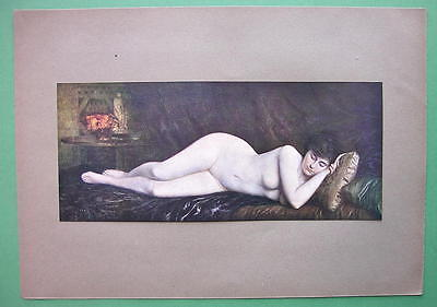 NUDE Girl Asleep Sweet Dreams - COLOR Antique Print