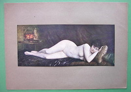 NUDE Girl Asleep Sweet Dreams - COLOR Antique P... - $27.72