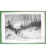 WINTER SOLITUDE Farmers Return from Market - VICTORIAN Antique Print - $17.82
