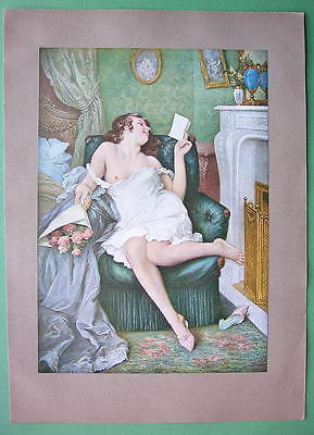 NUDE Lovely Maiden Reading Love Letter - COLOR Antique Print