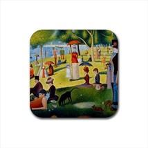 La Grande Jatte Georges Seurat Non-Slip Drink/Beer Coaster Set - Paintin... - $6.74