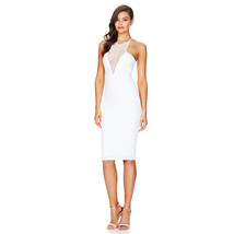 PF032 sexy a-line dress with mesh bust, size s-l, white - $28.80