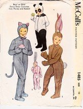 Vintage 40s Costume Pattern McCall's 1485 Child's Panda Cat or Rabbit Si... - $13.99