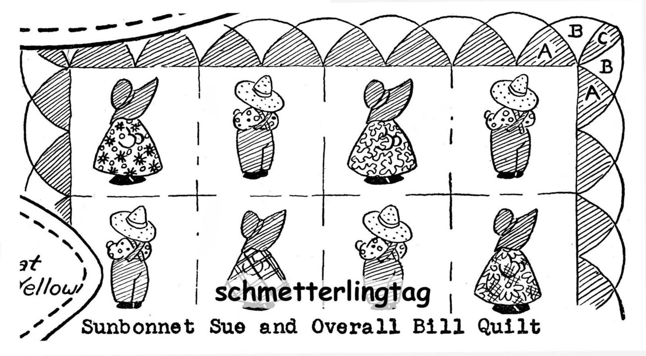 c1945 Sunbonnet Sue Overall Sam Babies Applique Quilt Patterns Quilting Designs