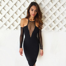 PF032 sexy a-line dress with mesh bust, size s-l, black - $28.80