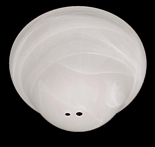 White Swirl Ceiling Fan Light Shade Bowl Center Post And