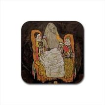 Mother with two Children Egon Schiele Non-Slip Drink/Beer Coaster Set - $6.74