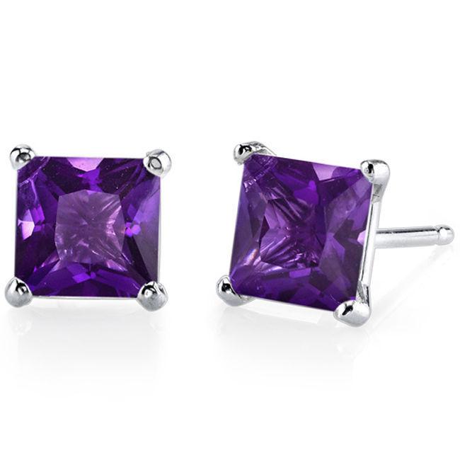14k White Gold Princess Cut Amethyst Gemstone Stud Earrings