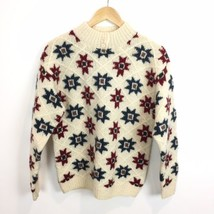 Woolrich Womens Size Large Wool Mock Neck Lone Star Sweater Cream Red Navy - $36.76