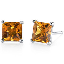 14k White Gold Princess Cut Citrine Gemstone Stud Earrings - $108.80