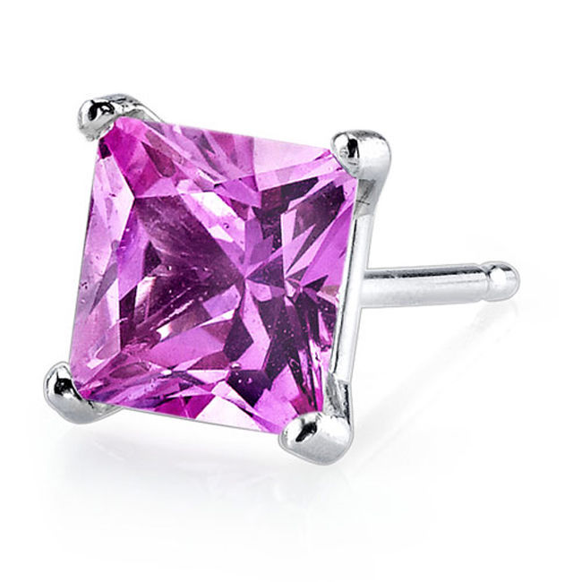 14k White Gold Princess Cut Created Pink Sapphire Gemstone Stud Earrings