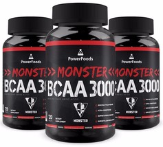 3-Pack Monster BCAA 3000 3x120 tablets-PowerFoods - Muscle Recovery + Fr... - $38.95