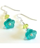 Aqua Blue Flower Bead Dangle Earrings, Lime Green Faceted Crystal Earrings - $26.00