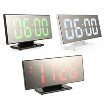 digital mirror surface alarm clock with large led display usb port for b... - $25.00